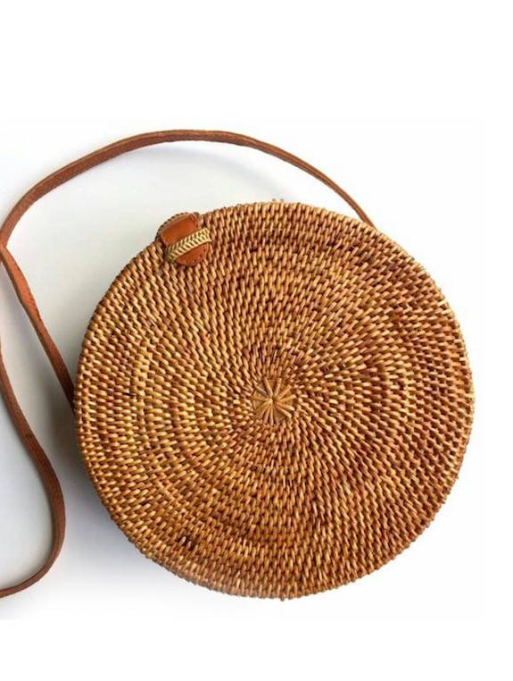 Round Rattan Woven Bag - Natural
