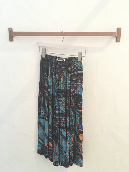 Vintage 80s Tribal Abstract Print Pleated Flowy Midi Skirt - Size Small