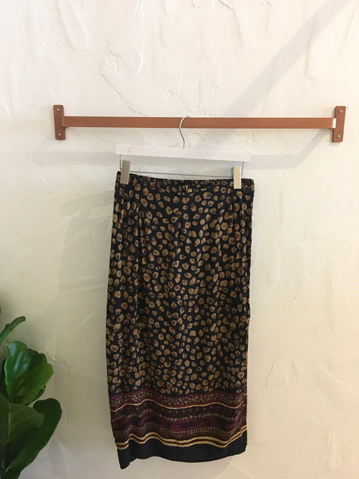 1990s High Waisted Animal Tribal Print Black and Brown Abstract Skirt - Size S