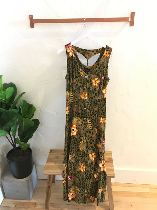 1990s Cheetah & Tropical Floral Print Lightweight Maxi Dress - Size 12