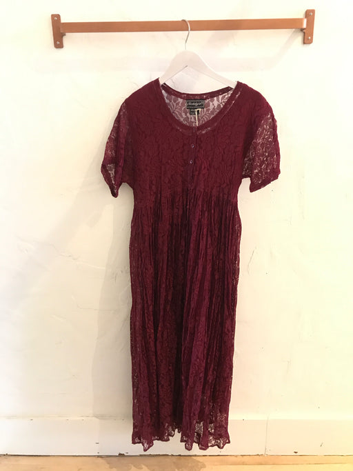 Grunge Revival Maroon Lace Midi Dress - Size S