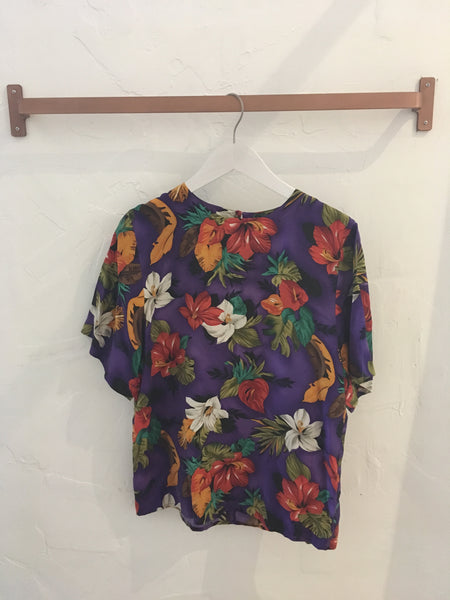Vintage Tropical Print Silk Blouse in Purple - Size M