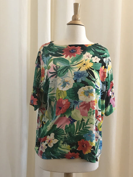 Tropical Floral Patterned T-Shirt - Size M