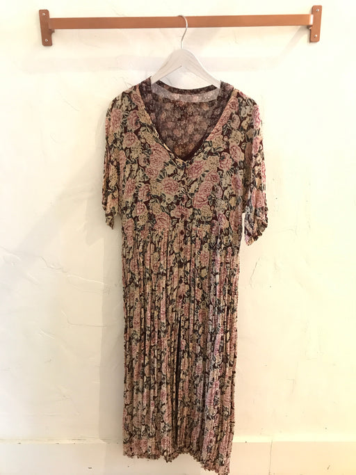 Vintage 90s Pink Floral Midi Dress with Slip - Size M