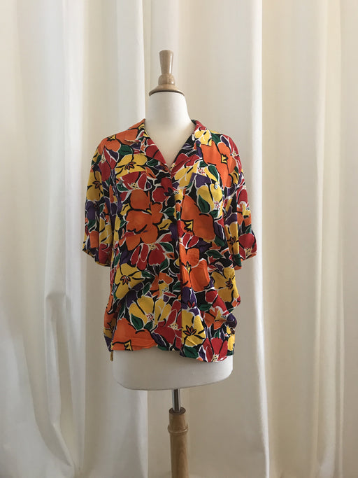 Liz Claiborne Tropical Floral Button-Down Shirt - Size 10, Gingerly Witty - Gingerly Witty