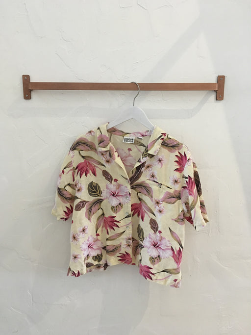 Tropical Floral Button-Down Blouse in Pale Yellow - Size 2 (modern size medium)