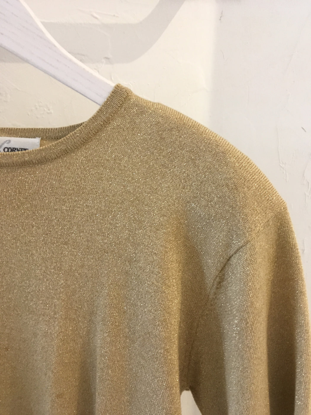 90s Sparkly Gold Sweater - Size M, Gingerly Witty - Gingerly Witty