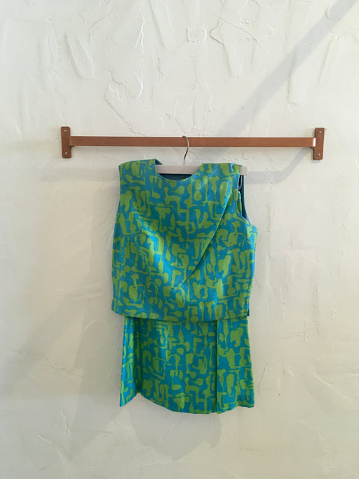 1960s Mod Silk Matching Skirt+Top Set - Size XS, Gingerly Witty - Gingerly Witty