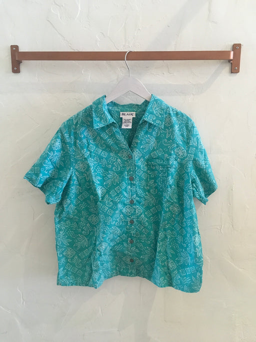 Vintage 80s Patterned Short Sleeve Button-Down - Size L