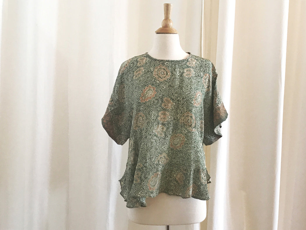 Taylor Patterned Shirt - Sage, Natalie Martin - Gingerly Witty
