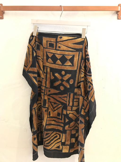 Vintage Silk Geometric Print Scarf - Black/Brown