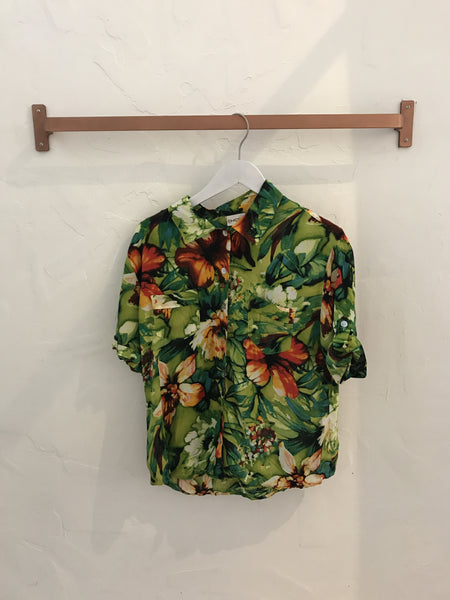 Tropical Floral Button-Down Blouse in Green - Size 1 (modern size small)