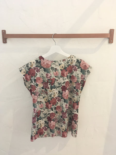 Pink Floral Short Sleeve Crinkle Top - Size S, Gingerly Witty - Gingerly Witty