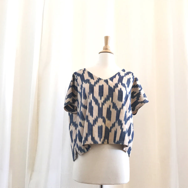 Avey Top - Cotton Ikat in Blue