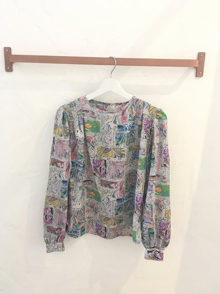 Vintage 80s Multicolored Abstract Art Blouse - Size 8
