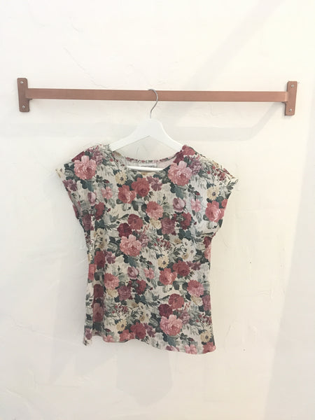 Pink Floral Short Sleeve Crinkle Top - Size S