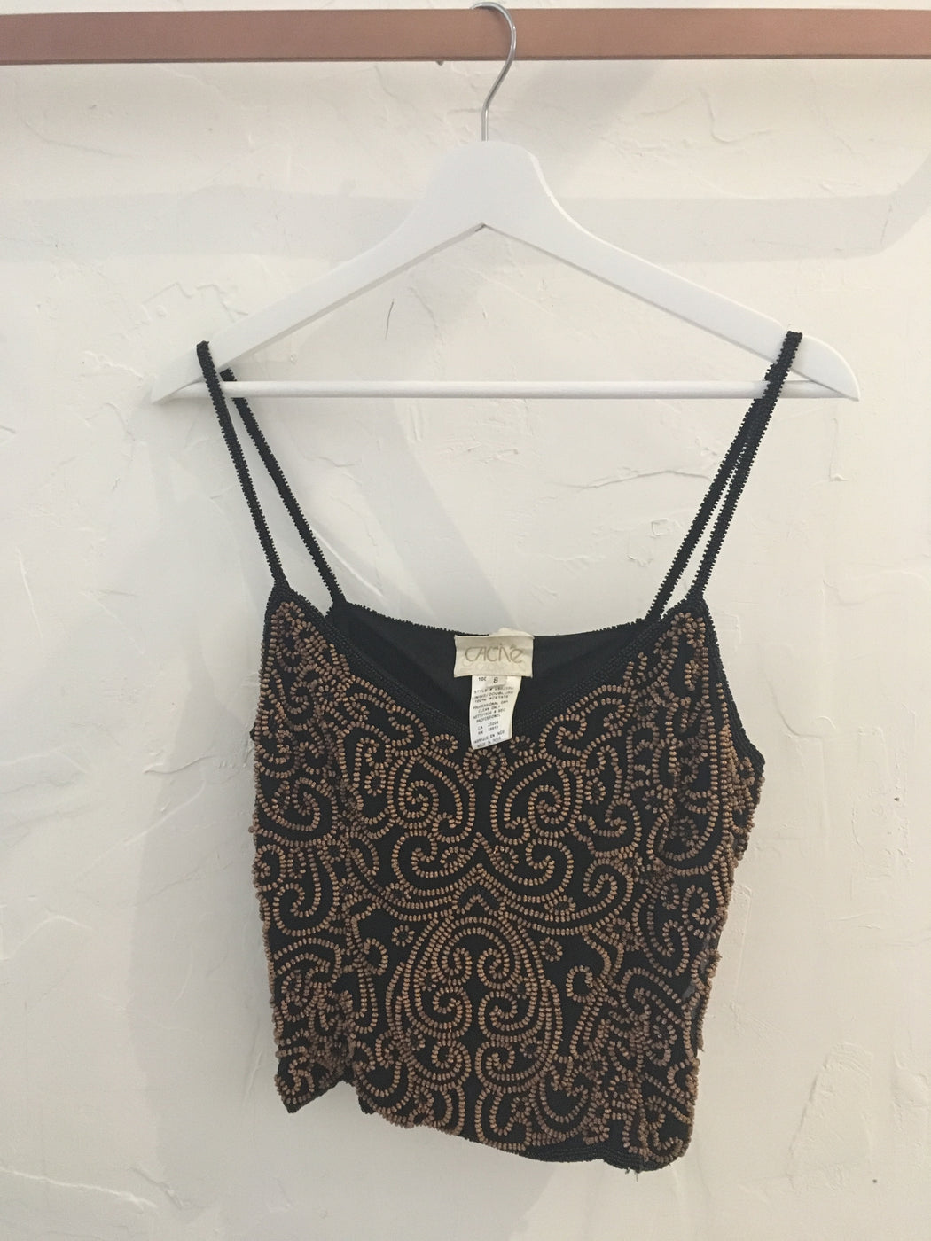 90s Caché Beaded Paisley Pattern Silk Spaghetti Strap Tank Top - Size 8, Gingerly Witty - Gingerly Witty