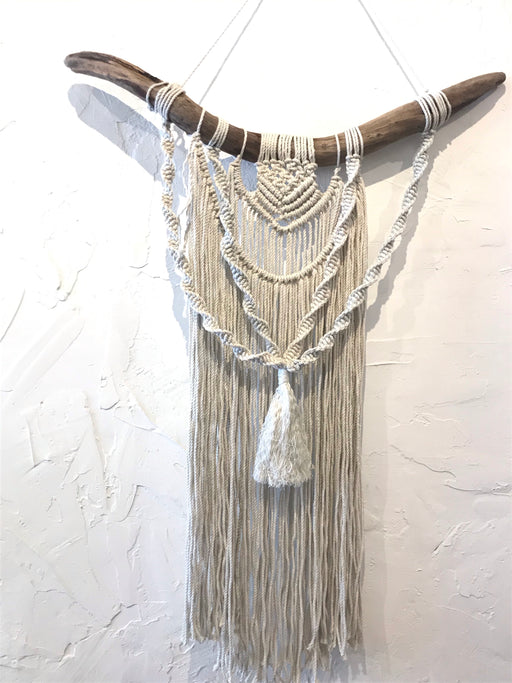 Three Layer Twisted Macrame Wall Hanging - Cream