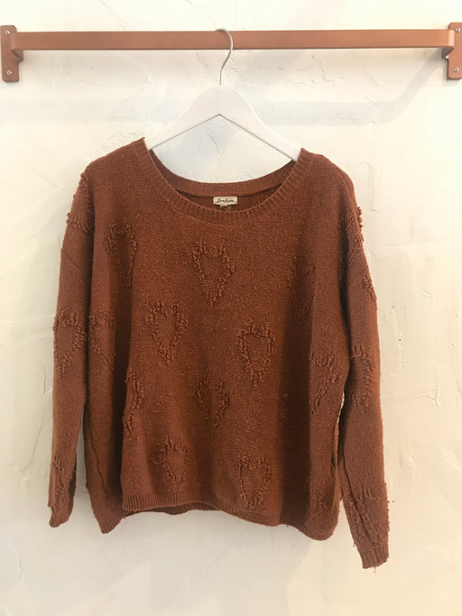 Burnt Orange Hearts Pullover Sweater - Size S, Gingerly Witty - Gingerly Witty