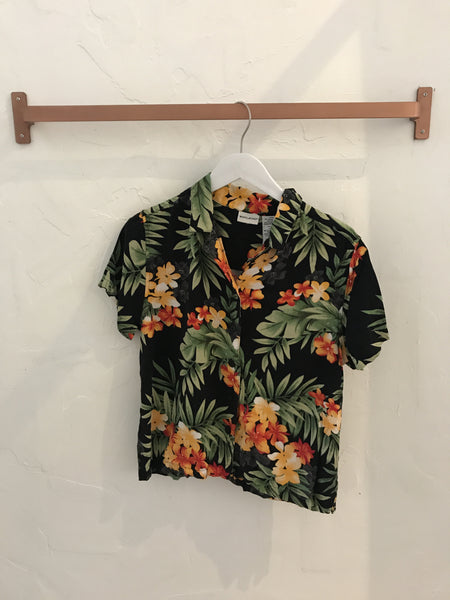 Tropical Floral Button-Down in black - Size Medium