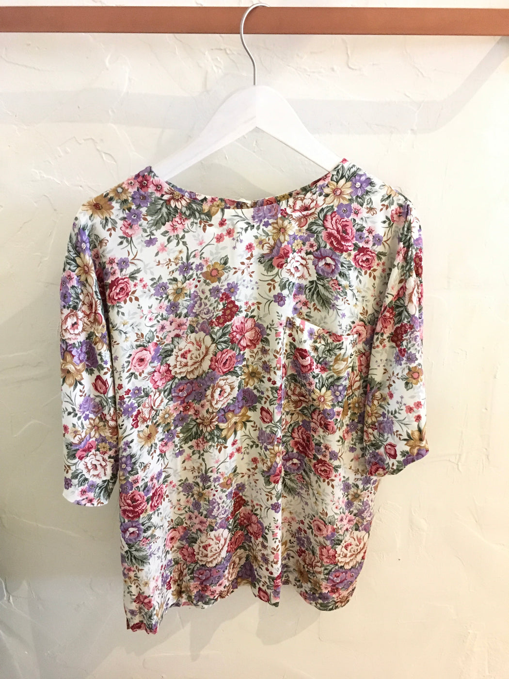 First Option Pink Floral Blouse with Button Closure - Size M