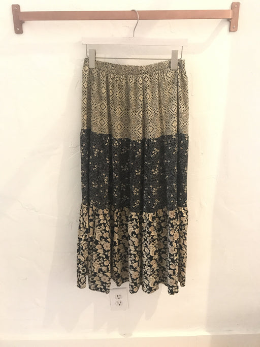 Vintage 90s Drawstring Maxi Black & Beige Patterned Skirt - Size S, Gingerly Witty - Gingerly Witty