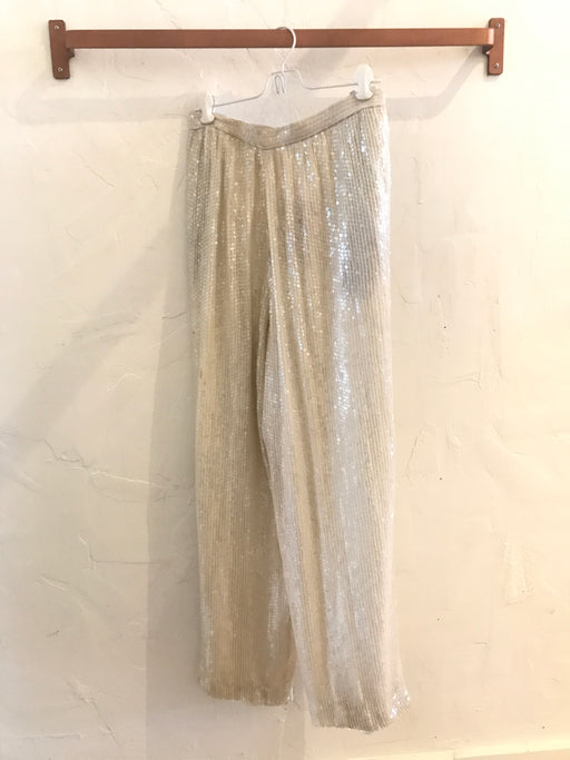 Vintage White Sequin Evening Pants - Size S