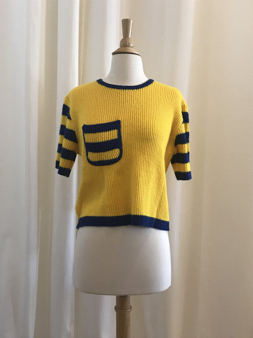 Vintage Short Sleeve Yellow with Blue Trim Knit Sweater with Front Pocket - Size S, Gingerly Witty - Gingerly Witty