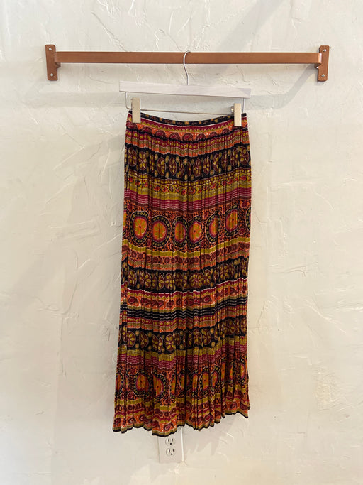 Vintage 80s Tribal Patterned Maxi Skirt - Size M