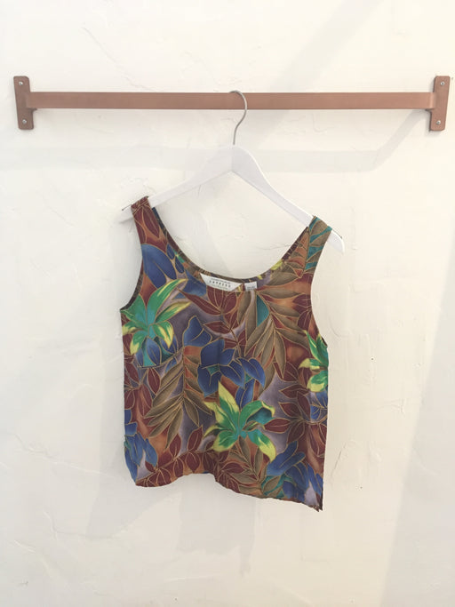 Vintage 90s Tropical Floral Silk Tank Top by Express - Size M, Gingerly Witty - Gingerly Witty