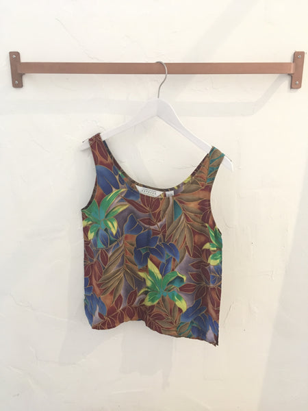 Vintage 90s Tropical Floral Silk Tank Top by Express - Size M