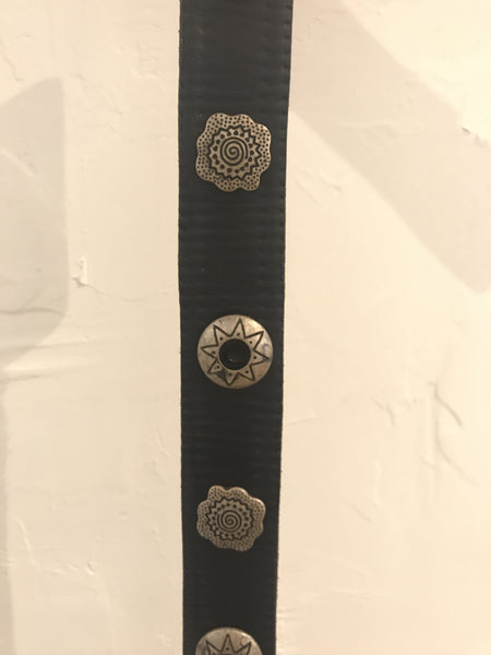 Vintage Black Metal Detailed Leather Rodeo Belt - Size S, Gingerly Witty - Gingerly Witty