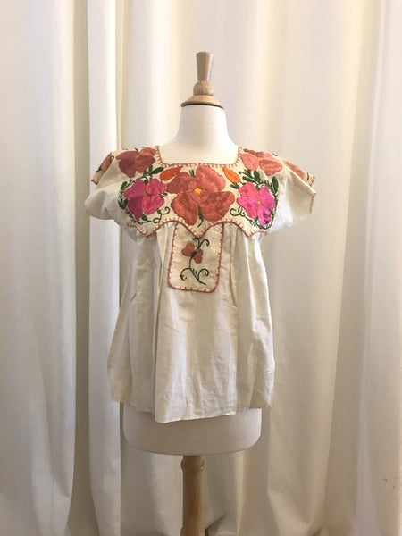 Vintage Mexican Floral Embroidered Short Sleeved Shirt - Size S