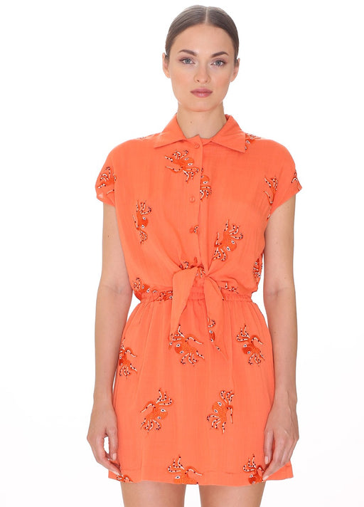 Octopus Embroidery Tie-Front Top - Coral; Pepaloves; Gingerly Witty