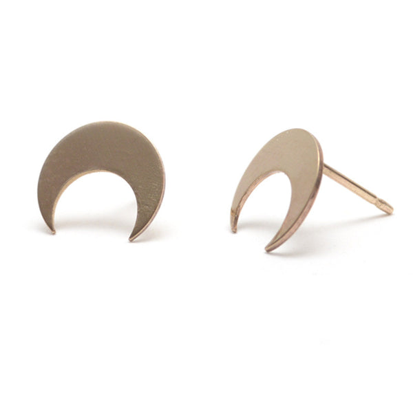 Crescent Moon Taurus Post Earrings - Gold