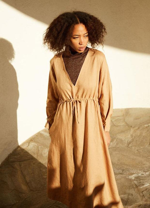 The Audra Dress - Camel Sugar Candy Mountain Gingerly Witty