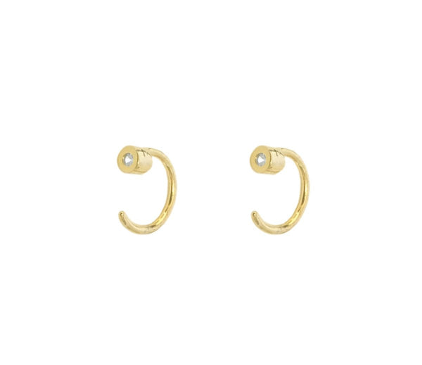 Sophie Ear Huggie w. Stone, 14k Gold Vermeil, Thatch - Gingerly Witty