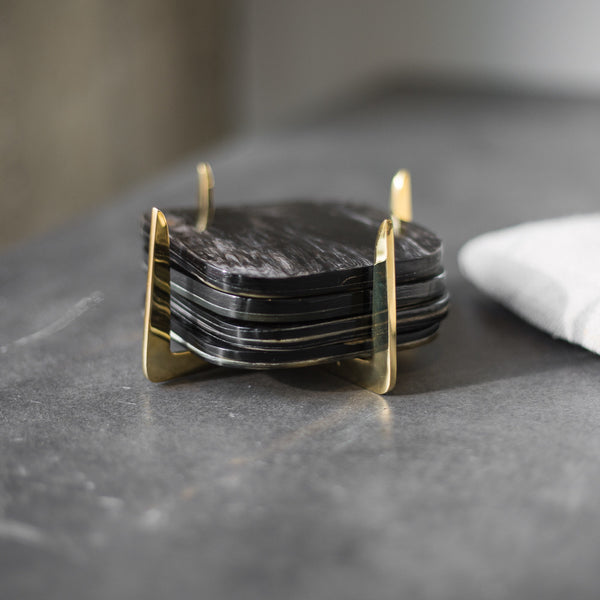 Pure Brass & Ankole Horn Coaster Set - Dark Finish