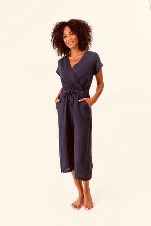 Woven Jumpsuit With Pockets-Anthracite