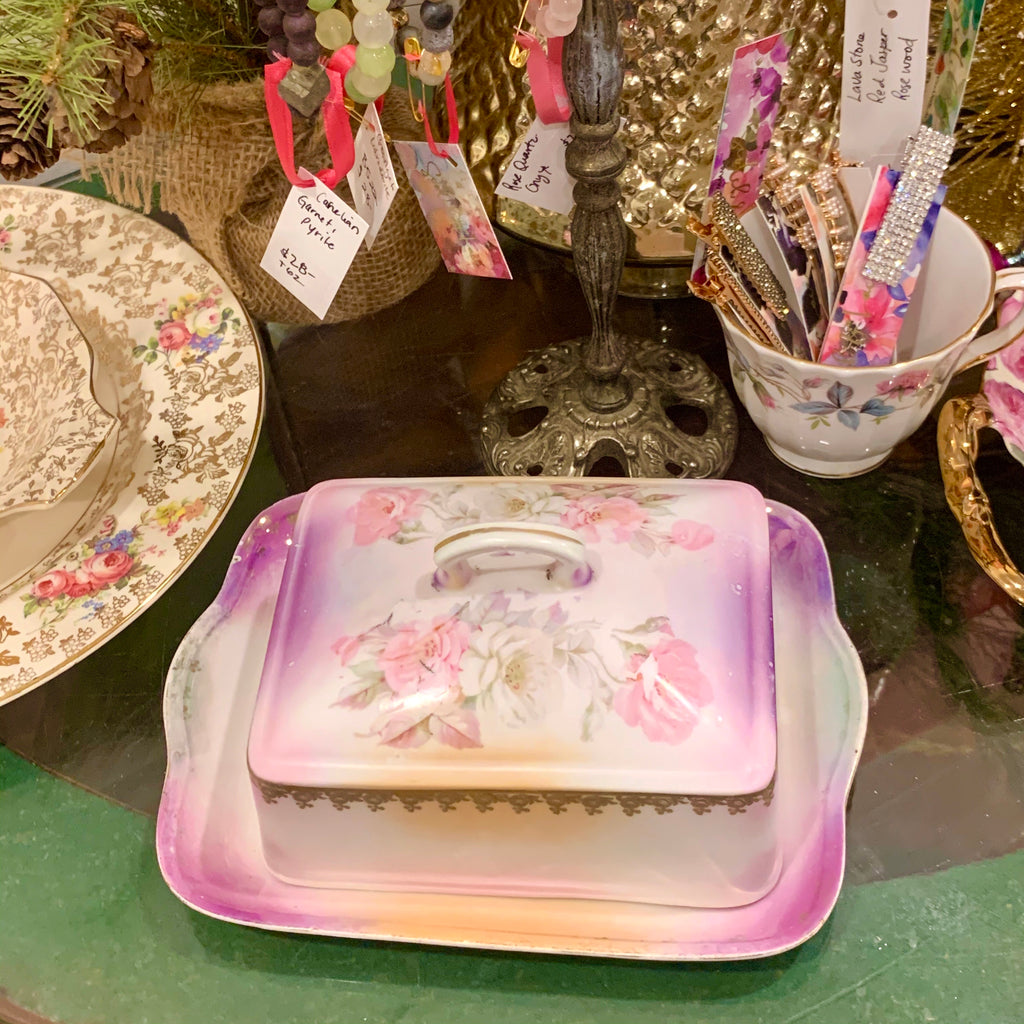 Vibrant Floral Butter Dish