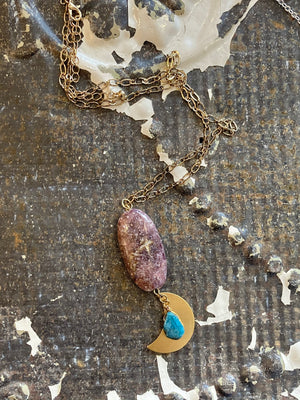Lepidolite And Apatite Stone Necklace With Moon