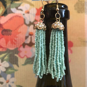 Beaded Fringe Earrings-Mint