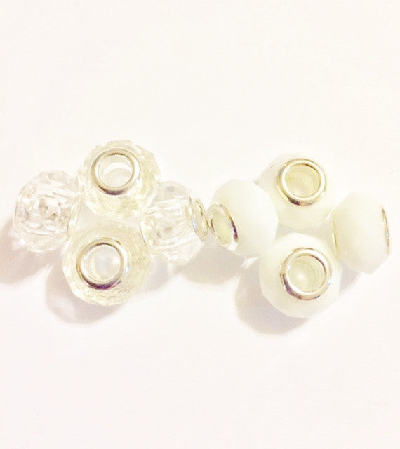 White and Clear Lampwork Murano Glass beads for European Charm Bracelet
