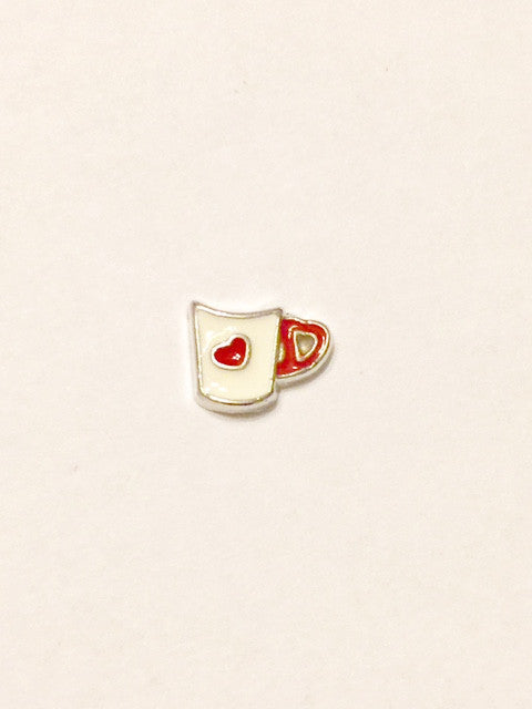Coffee Cup Charm (white/red)