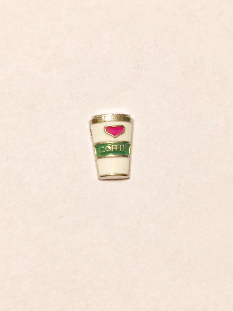 Coffee Cup Charm (green/white)