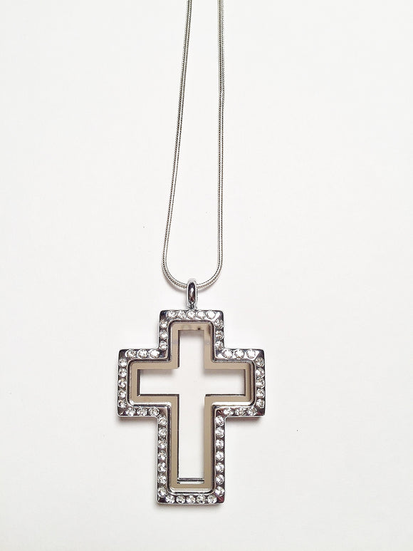 Crystal Cross Floating Charm Locket Necklace