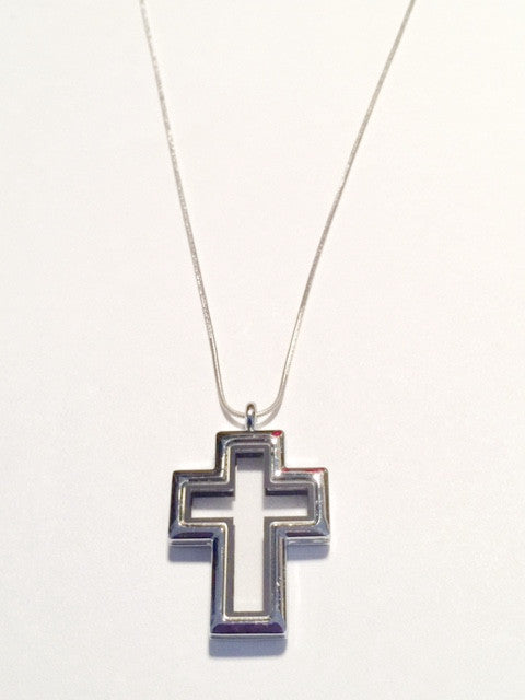 Cross Floating Charm Locket Necklace