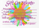 Sublime Inspirations Gift Certificate