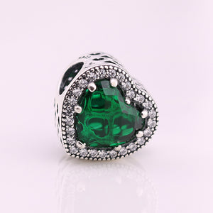 Green .925 Sterling Silver Crystal Heart Charm Bead