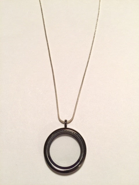 Gun Metal Black Round Floating Charm Locket Necklace
